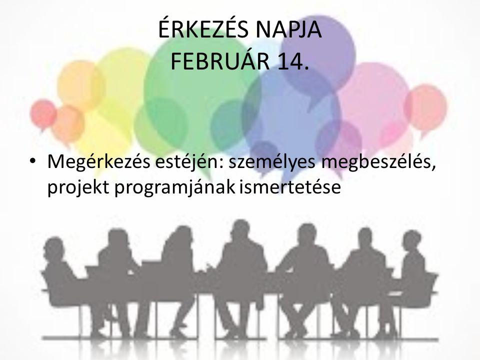 ÉRKEZÉS NAPJA FEBRUÁR 14. Megérkezés estéjén: személyes megbeszélés, projekt programjának ismertetése