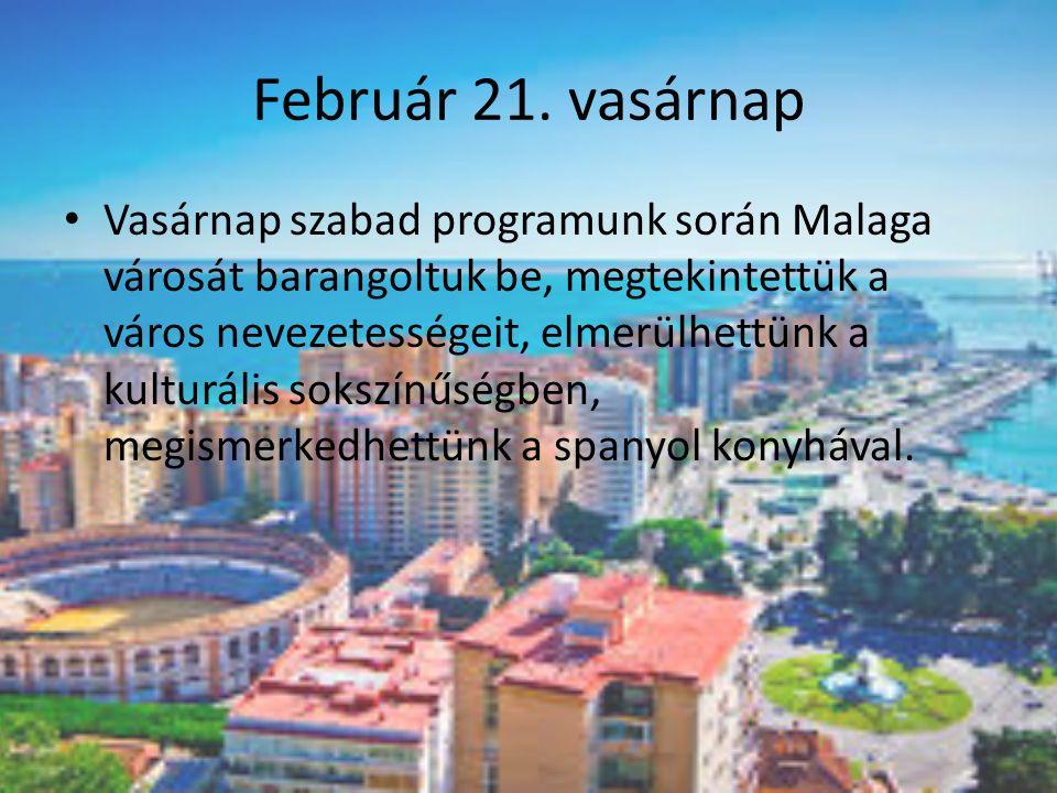 Február 21. vasárnap Vasárnap szabad programunk során Malaga városát barangoltuk be, megtekintettük a város nevezetességeit, elmerülhettünk a kulturál