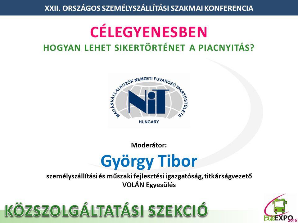 Moderátor: György Tibor személyszállítási és műszaki fejlesztési igazgatóság, titkárságvezető VOLÁN Egyesülés XXII.