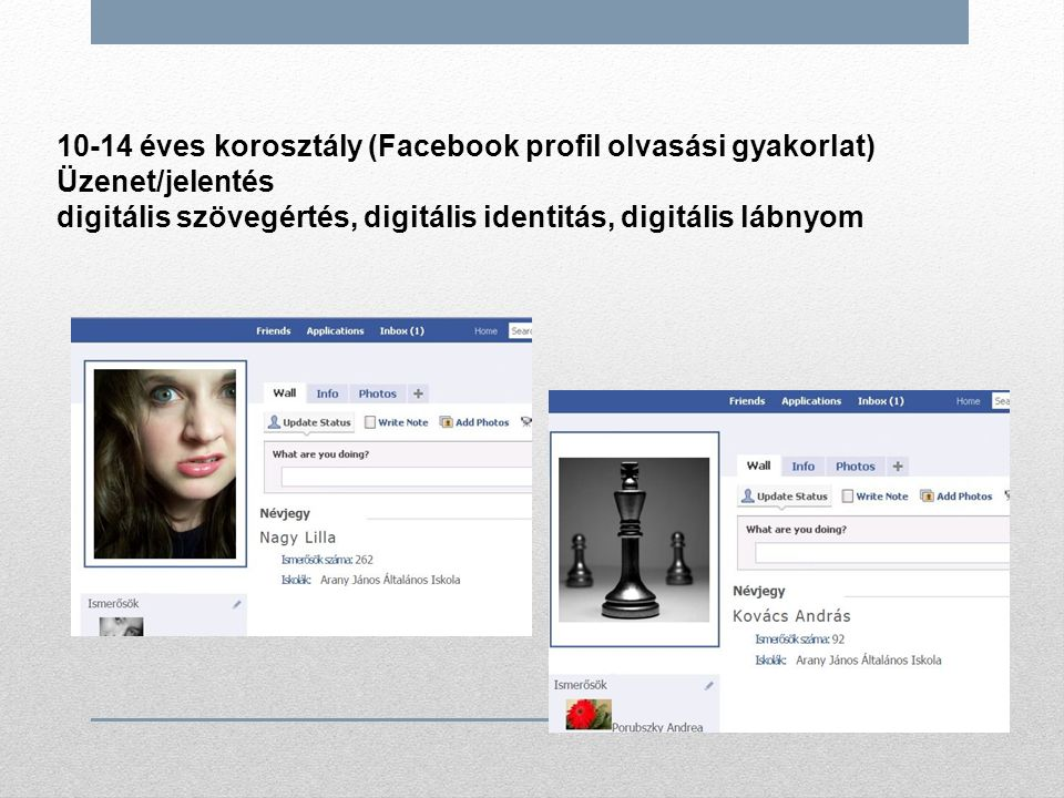 10-14 éves korosztály (Facebook profil olvasási gyakorlat) Üzenet/jelentés digitális szövegértés, digitális identitás, digitális lábnyom