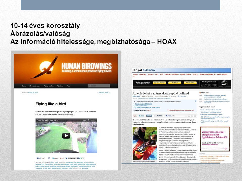 10-14 éves korosztály Ábrázolás/valóság Az információ hitelessége, megbízhatósága – HOAX