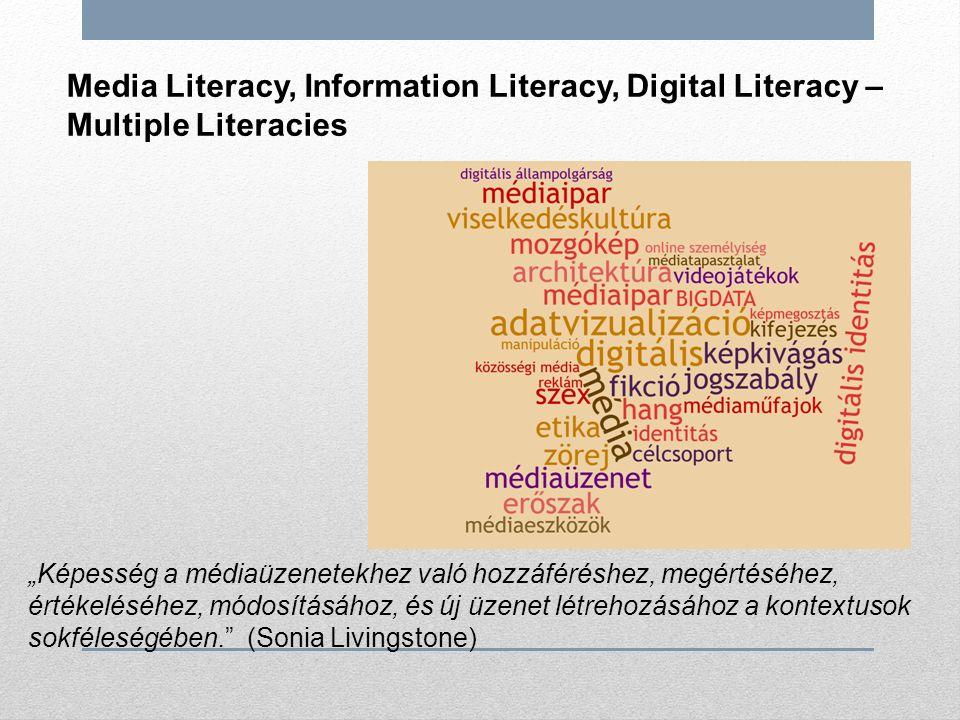 """Media Literacy, Information Literacy, Digital Literacy – Multiple Literacies """"Képesség a médiaüzenetekhez való hozzáféréshez, megértéséhez, értékeléséhez, módosításához, és új üzenet létrehozásához a kontextusok sokféleségében. (Sonia Livingstone)"""