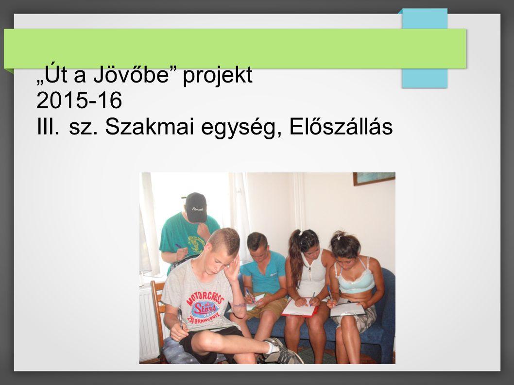 """""""Út a Jövőbe"""" projekt 2015-16 III. sz. Szakmai egység, Előszállás"""