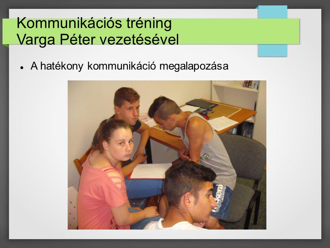 Kommunikációs tréning Varga Péter vezetésével A hatékony kommunikáció megalapozása