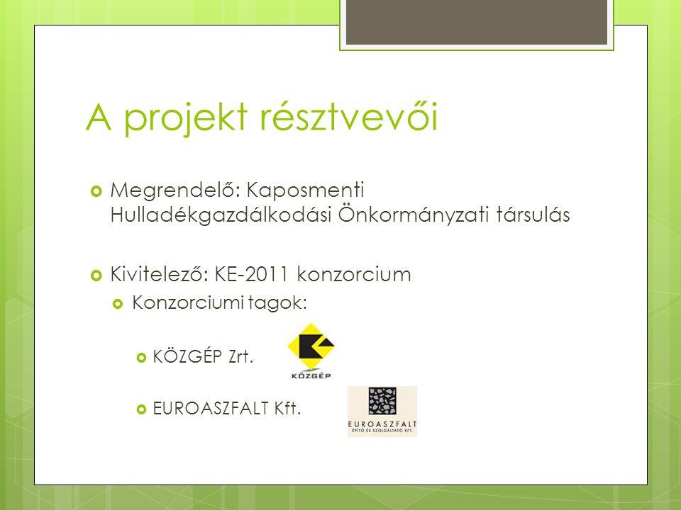 A projekt résztvevői  Megrendelő: Kaposmenti Hulladékgazdálkodási Önkormányzati társulás  Kivitelező: KE-2011 konzorcium  Konzorciumi tagok:  KÖZGÉP Zrt.