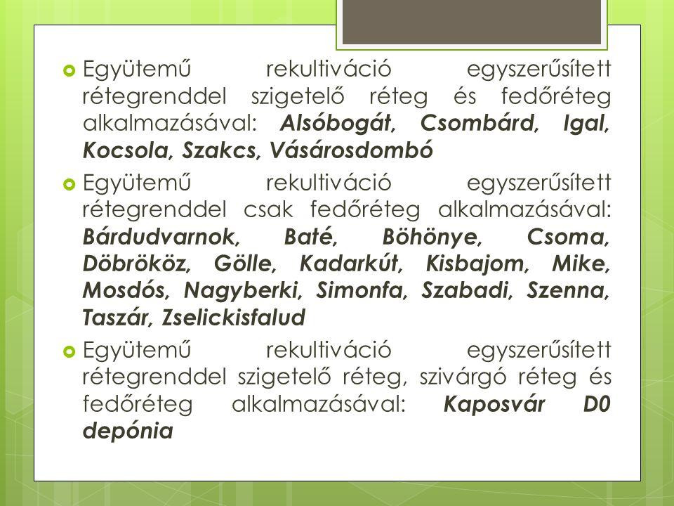  Együtemű rekultiváció egyszerűsített rétegrenddel szigetelő réteg és fedőréteg alkalmazásával: Alsóbogát, Csombárd, Igal, Kocsola, Szakcs, Vásárosdombó  Együtemű rekultiváció egyszerűsített rétegrenddel csak fedőréteg alkalmazásával: Bárdudvarnok, Baté, Böhönye, Csoma, Döbrököz, Gölle, Kadarkút, Kisbajom, Mike, Mosdós, Nagyberki, Simonfa, Szabadi, Szenna, Taszár, Zselickisfalud  Együtemű rekultiváció egyszerűsített rétegrenddel szigetelő réteg, szivárgó réteg és fedőréteg alkalmazásával: Kaposvár D0 depónia