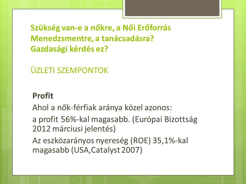 Profit Ahol a nők-férfiak aránya közel azonos: a profit 56%-kal magasabb. (Európai Bizottság 2012 márciusi jelentés) Az eszközarányos nyereség (ROE) 3