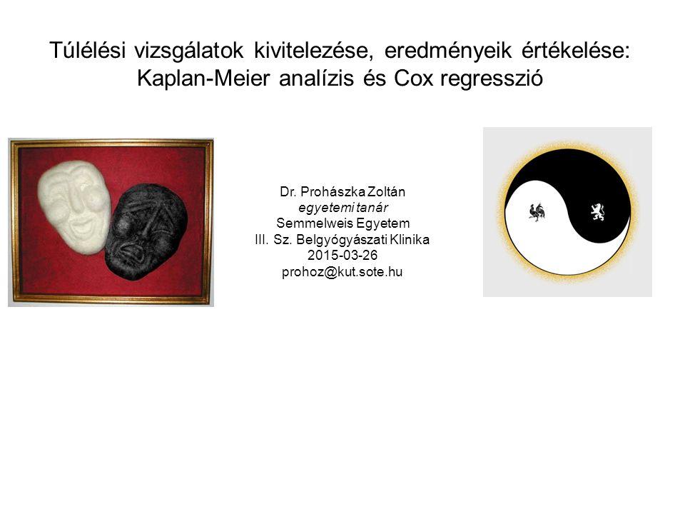 Túlélési vizsgálatok kivitelezése, eredményeik értékelése: Kaplan-Meier analízis és Cox regresszió Dr.