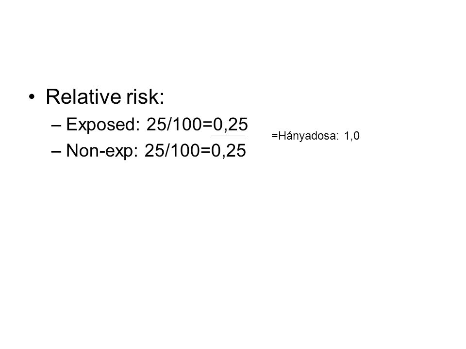 Relative risk: –Exposed: 25/100=0,25 –Non-exp: 25/100=0,25 =Hányadosa: 1,0