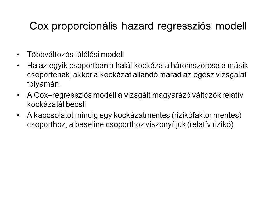 Cox proporcionális hazard regressziós modell Többváltozós túlélési modell Ha az egyik csoportban a halál kockázata háromszorosa a másik csoporténak, akkor a kockázat állandó marad az egész vizsgálat folyamán.