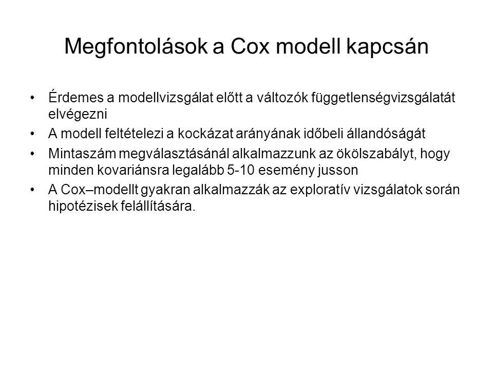 Megfontolások a Cox modell kapcsán Érdemes a modellvizsgálat előtt a változók függetlenségvizsgálatát elvégezni A modell feltételezi a kockázat arányának időbeli állandóságát Mintaszám megválasztásánál alkalmazzunk az ökölszabályt, hogy minden kovariánsra legalább 5-10 esemény jusson A Cox–modellt gyakran alkalmazzák az exploratív vizsgálatok során hipotézisek felállítására.