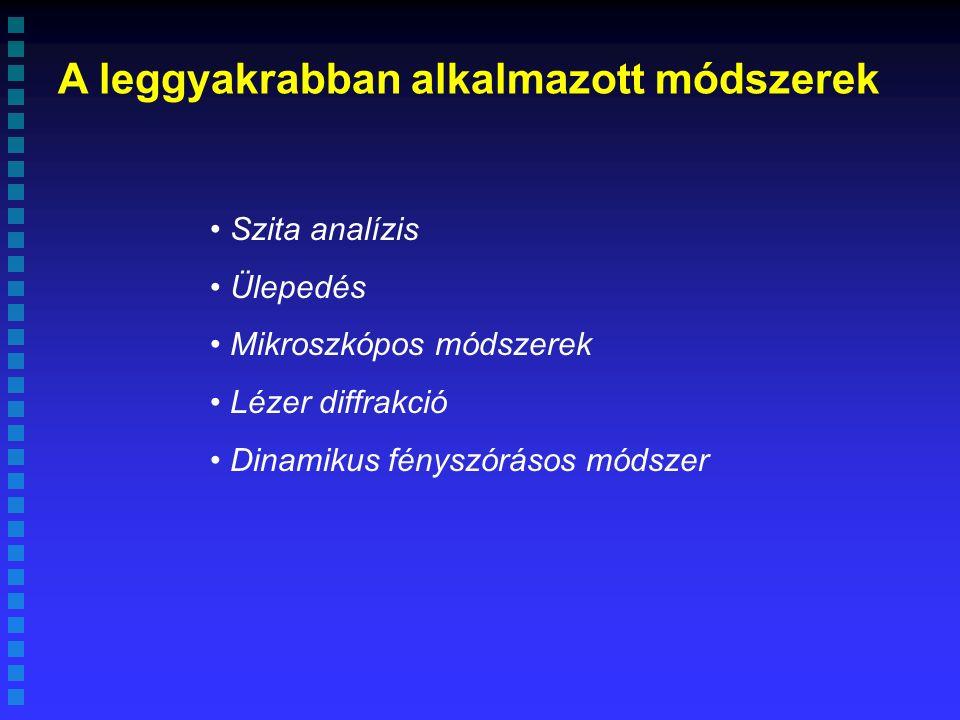 A leggyakrabban alkalmazott módszerek Szita analízis Ülepedés Mikroszkópos módszerek Lézer diffrakció Dinamikus fényszórásos módszer