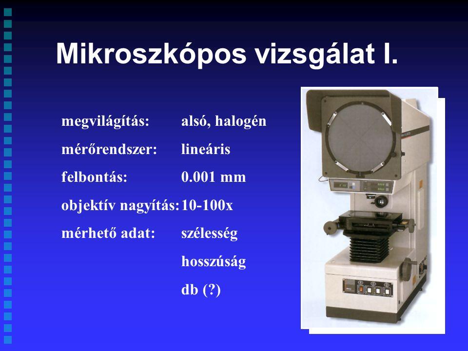 megvilágítás:alsó, halogén mérőrendszer:lineáris felbontás:0.001 mm objektív nagyítás:10-100x mérhető adat:szélesség hosszúság db ( ) Mikroszkópos vizsgálat I.