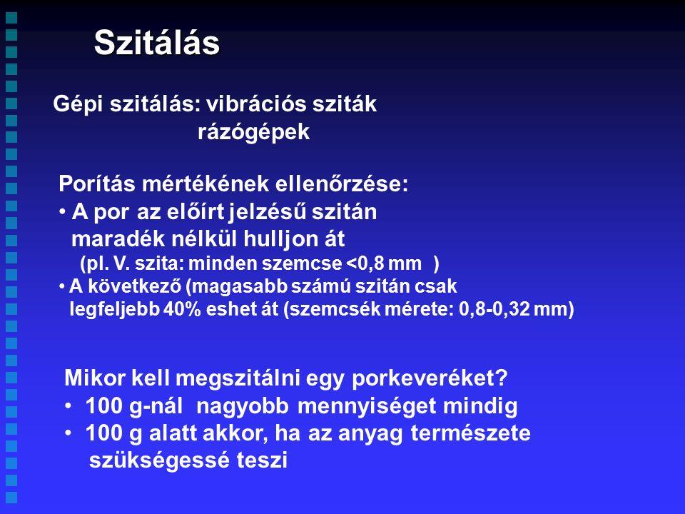 Szitálás Gépi szitálás: vibrációs sziták rázógépek Porítás mértékének ellenőrzése: A por az előírt jelzésű szitán maradék nélkül hulljon át (pl.