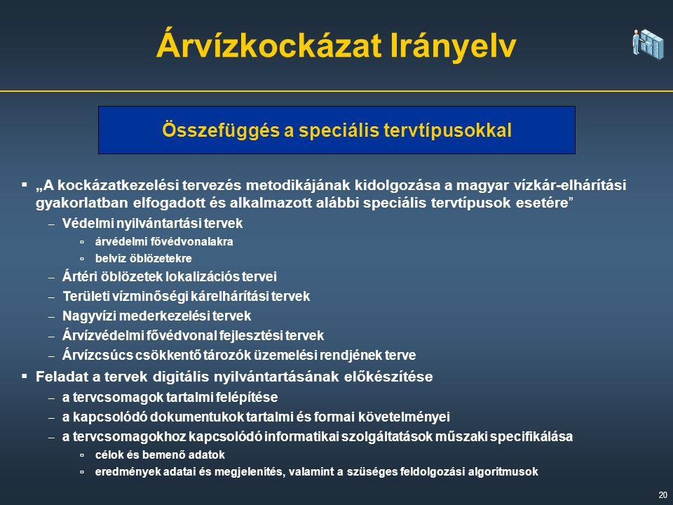 """20  """"A kockázatkezelési tervezés metodikájának kidolgozása a magyar vízkár-elhárítási gyakorlatban elfogadott és alkalmazott alábbi speciális tervtípusok esetére – Védelmi nyilvántartási tervek ▫ árvédelmi fővédvonalakra ▫ belvíz öblözetekre – Ártéri öblözetek lokalizációs tervei – Területi vízminőségi kárelhárítási tervek – Nagyvízi mederkezelési tervek – Árvízvédelmi fővédvonal fejlesztési tervek – Árvízcsúcs csökkentő tározók üzemelési rendjének terve  Feladat a tervek digitális nyilvántartásának előkészítése – a tervcsomagok tartalmi felépítése – a kapcsolódó dokumentukok tartalmi és formai követelményei – a tervcsomagokhoz kapcsolódó informatikai szolgáltatások műszaki specifikálása ▫ célok és bemenő adatok ▫ eredmények adatai és megjelenítés, valamint a szüséges feldolgozási algoritmusok Árvízkockázat Irányelv Összefüggés a speciális tervtípusokkal"""