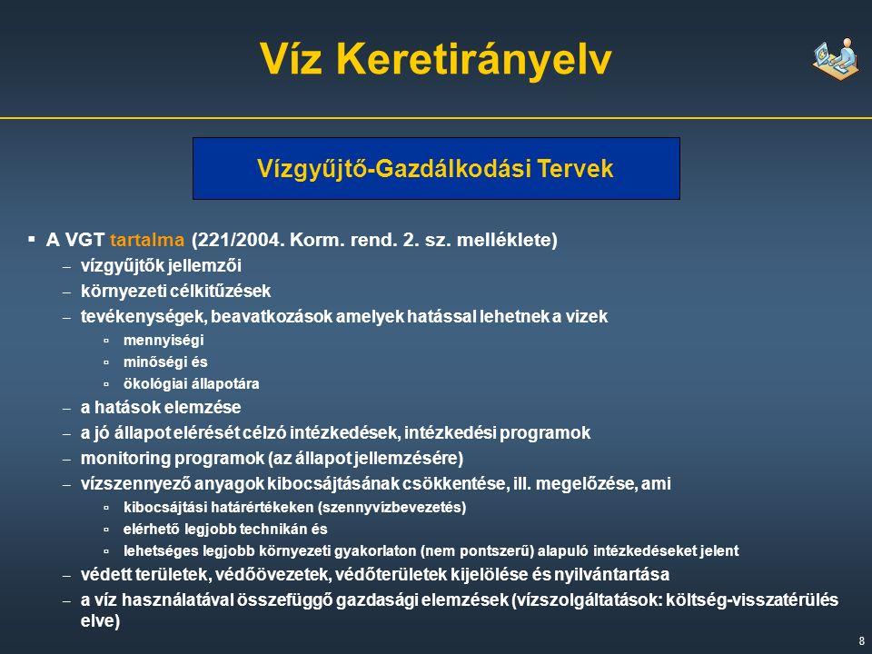 8 Víz Keretirányelv Vízgyűjtő-Gazdálkodási Tervek  A VGT tartalma (221/2004.