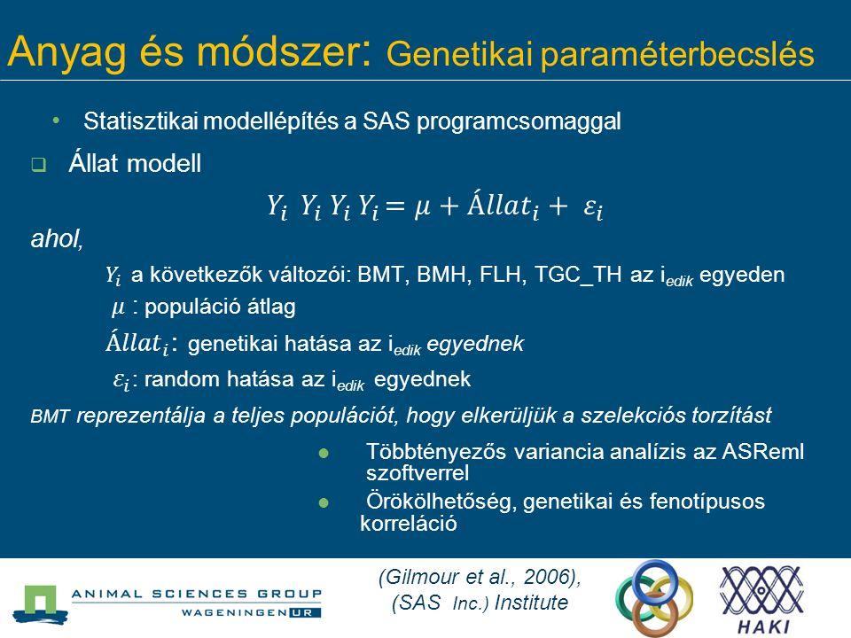 Anyag és módszer : Genetikai paraméterbecslés Statisztikai modellépítés a SAS programcsomaggal (Gilmour et al., 2006), (SAS Inc.) Institute