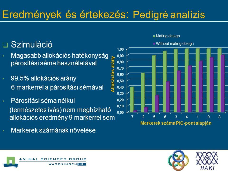  Szimuláció Magasabb allokációs hatékonyság párosítási séma használatával 99.5% allokációs arány 6 markerrel a párosítási sémával Párosítási séma nél