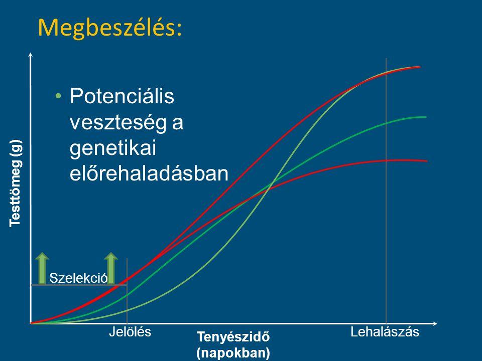 Testtömeg (g) Tenyészidő (napokban) JelölésLehalászás Szelekció Megbeszélés: Potenciális veszteség a genetikai előrehaladásban