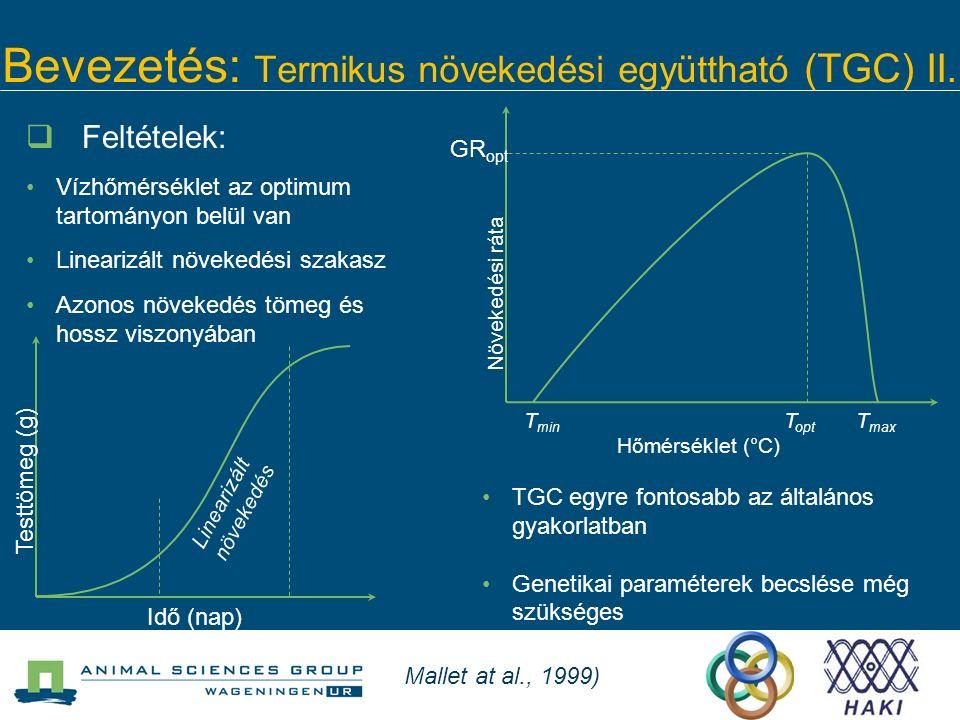 Bevezetés: Termikus növekedési együttható (TGC) II. T min T opt T max Hőmérséklet (°C) Növekedési ráta  Feltételek: Vízhőmérséklet az optimum tartomá