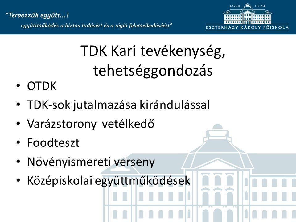 TDK Kari tevékenység, tehetséggondozás OTDK TDK-sok jutalmazása kirándulással Varázstorony vetélkedő Foodteszt Növényismereti verseny Középiskolai együttműködések