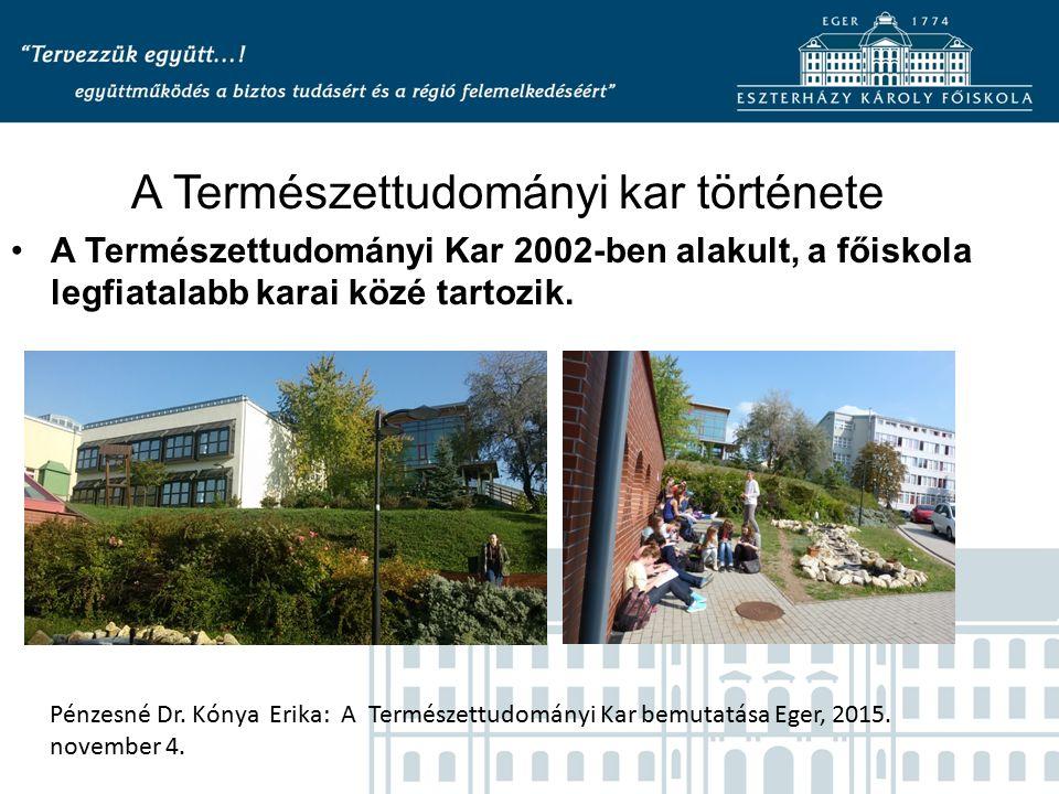A Természettudományi kar története A Természettudományi Kar 2002-ben alakult, a főiskola legfiatalabb karai közé tartozik.