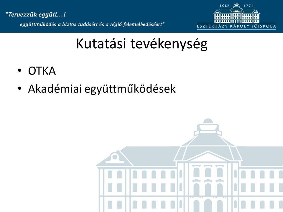 Kutatási tevékenység OTKA Akadémiai együttműködések