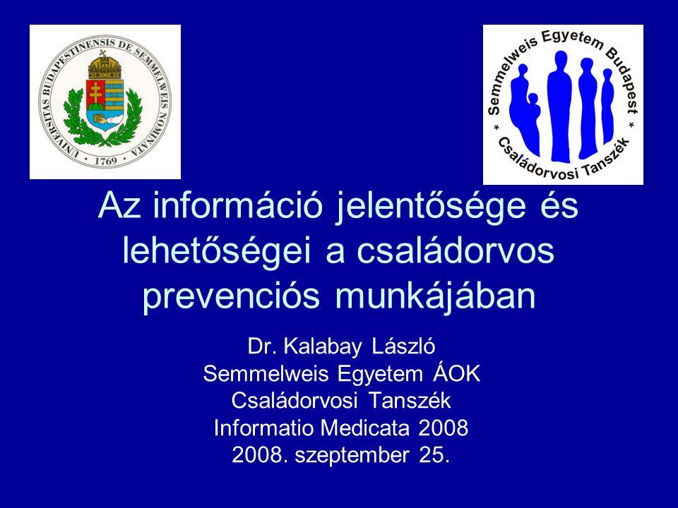 Az információ jelentősége és lehetőségei a családorvos prevenciós munkájában Dr.
