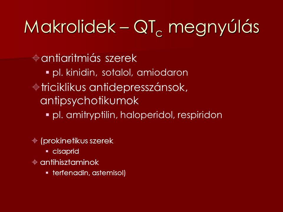 Makrolidek – QT c megnyúlás  antiaritmiás szerek  pl.