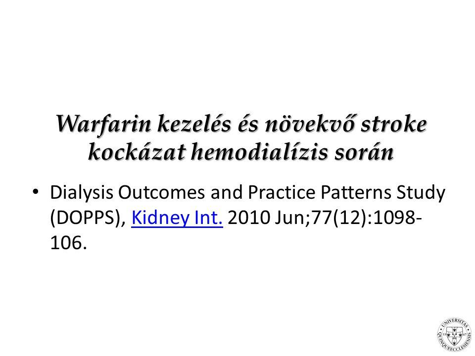 Warfarin kezelés és növekvő stroke kockázat hemodialízis során Dialysis Outcomes and Practice Patterns Study (DOPPS), Kidney Int.