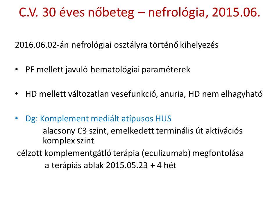 C.V. 30 éves nőbeteg – nefrológia, 2015.06.