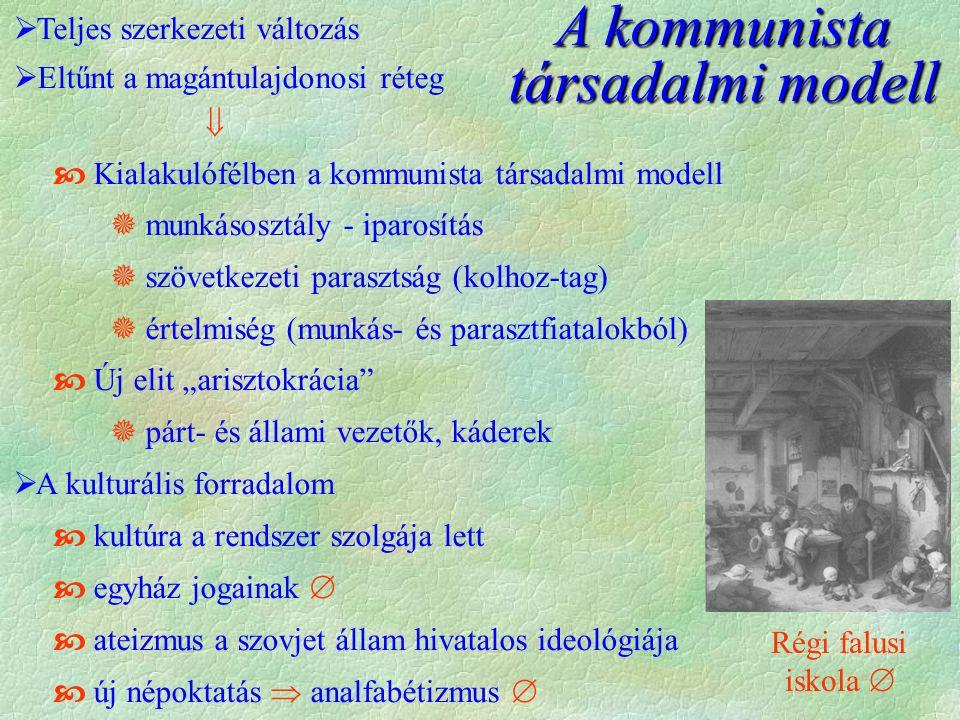 """A kommunista társadalmi modell  Teljes szerkezeti változás  Eltűnt a magántulajdonosi réteg   Kialakulófélben a kommunista társadalmi modell  munkásosztály - iparosítás  szövetkezeti parasztság (kolhoz-tag)  értelmiség (munkás- és parasztfiatalokból)  Új elit """"arisztokrácia  párt- és állami vezetők, káderek  A kulturális forradalom  kultúra a rendszer szolgája lett  egyház jogainak   ateizmus a szovjet állam hivatalos ideológiája  új népoktatás  analfabétizmus  Régi falusi iskola """
