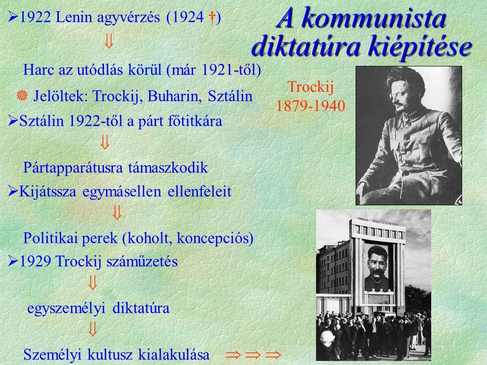 A kommunista diktatúra kiépítése  1922 Lenin agyvérzés (1924 †)  Harc az utódlás körül (már 1921-től)  Jelöltek: Trockij, Buharin, Sztálin  Sztálin 1922-től a párt főtitkára  Pártapparátusra támaszkodik  Kijátssza egymásellen ellenfeleit  Politikai perek (koholt, koncepciós)  1929 Trockij száműzetés  egyszemélyi diktatúra  Személyi kultusz kialakulása Trockij 1879-1940     