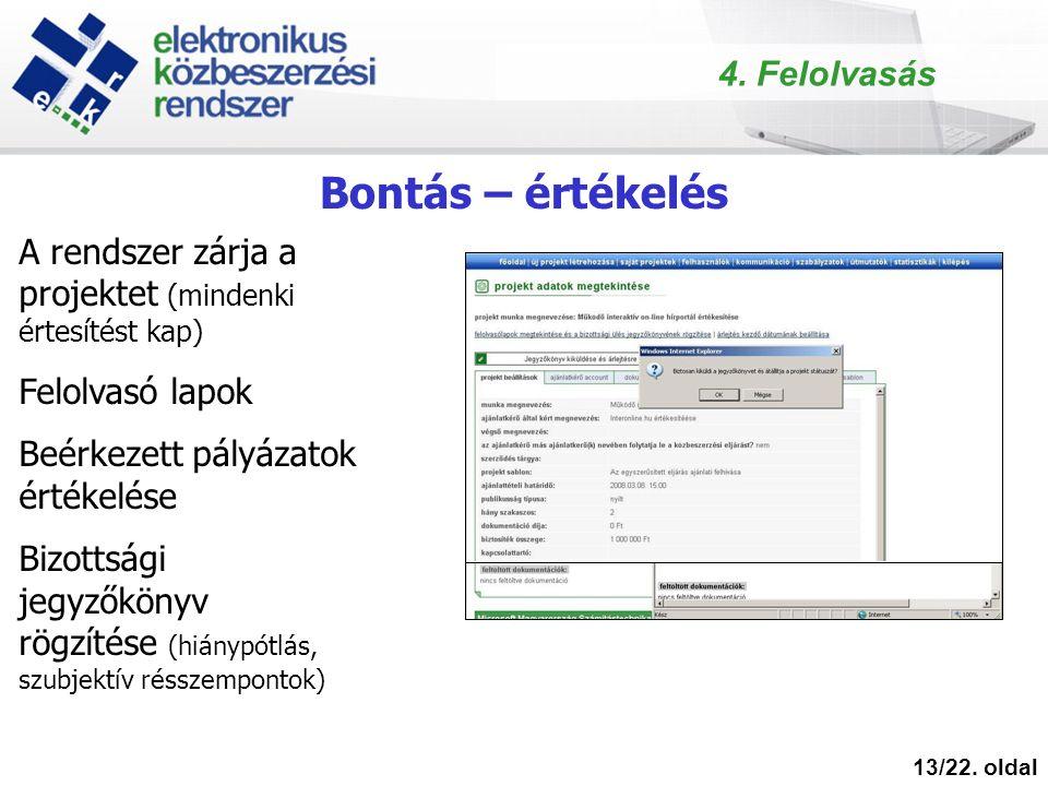 Bontás – értékelés 13/22.