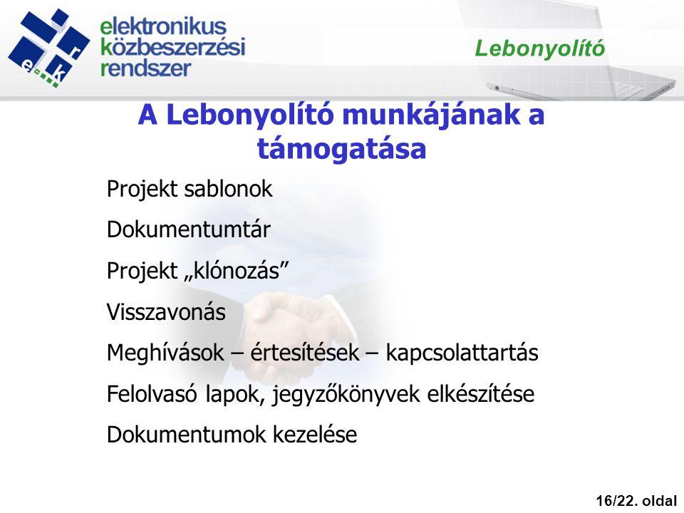 """A Lebonyolító munkájának a támogatása 16/22. oldal Lebonyolító Projekt sablonok Dokumentumtár Projekt """"klónozás"""" Visszavonás Meghívások – értesítések"""