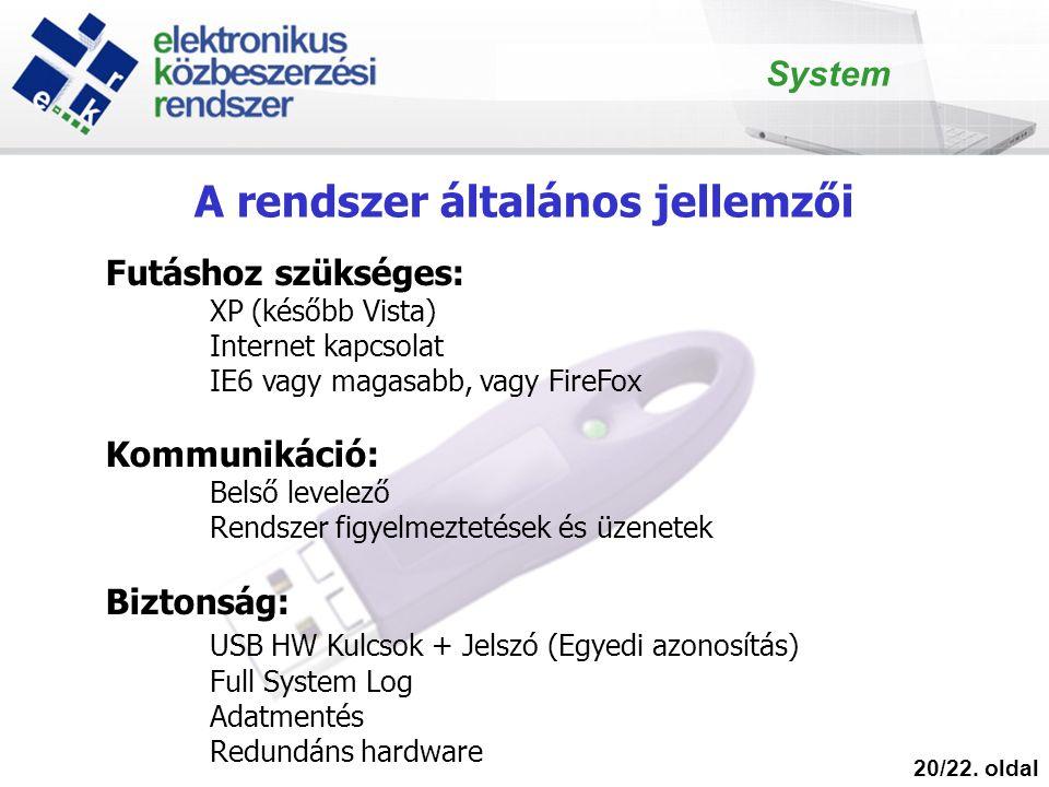 A rendszer általános jellemzői 20/22. oldal Futáshoz szükséges: XP (később Vista) Internet kapcsolat IE6 vagy magasabb, vagy FireFox Kommunikáció: Bel