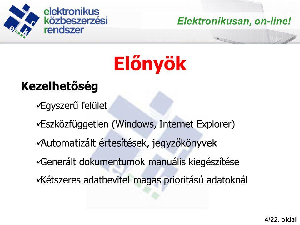 Előnyök 4/22. oldal Elektronikusan, on-line! Kezelhetőség Egyszerű felület Eszközfüggetlen (Windows, Internet Explorer) Automatizált értesítések, jegy