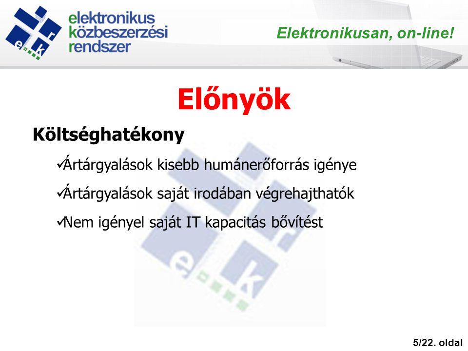 Előnyök 5/22. oldal Elektronikusan, on-line.
