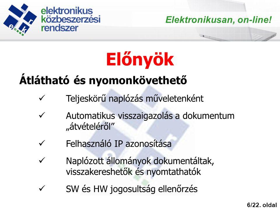Előnyök 6/22. oldal Elektronikusan, on-line.