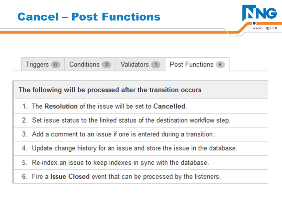 Cancel – Post Functions