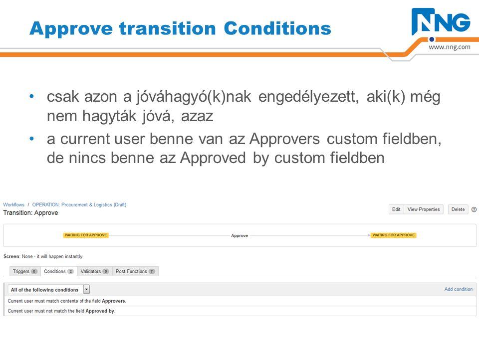 Approve transition Conditions csak azon a jóváhagyó(k)nak engedélyezett, aki(k) még nem hagyták jóvá, azaz a current user benne van az Approvers custom fieldben, de nincs benne az Approved by custom fieldben