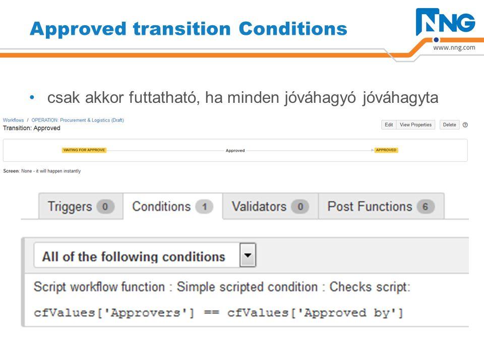 Approved transition Conditions csak akkor futtatható, ha minden jóváhagyó jóváhagyta