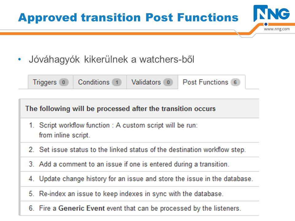 Approved transition Post Functions Jóváhagyók kikerülnek a watchers-ből