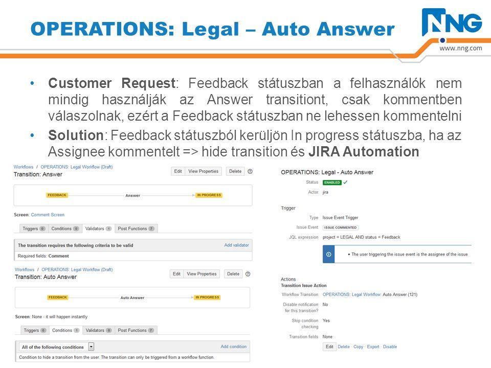 OPERATIONS: Legal – Auto Answer Customer Request: Feedback státuszban a felhasználók nem mindig használják az Answer transitiont, csak kommentben válaszolnak, ezért a Feedback státuszban ne lehessen kommentelni Solution: Feedback státuszból kerüljön In progress státuszba, ha az Assignee kommentelt => hide transition és JIRA Automation