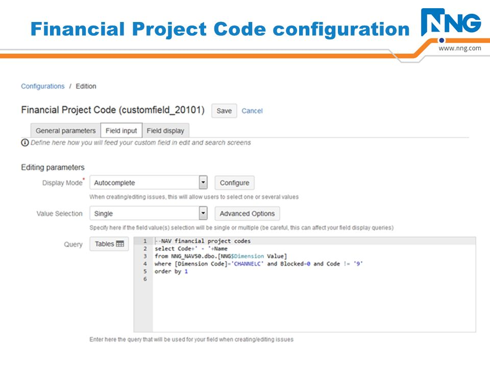 Financial Project Code configuration