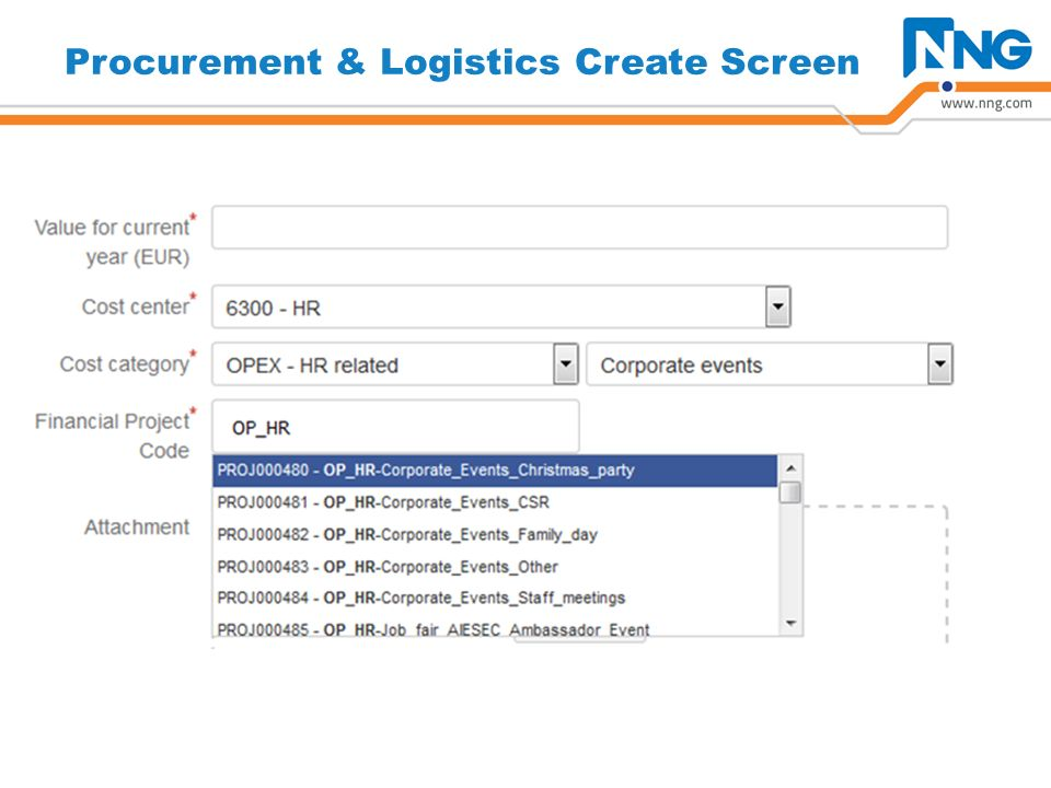 Procurement & Logistics Create Screen