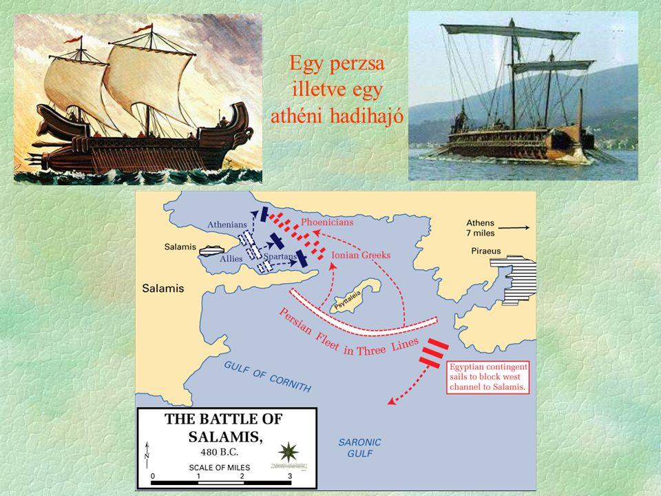 Egy perzsa illetve egy athéni hadihajó