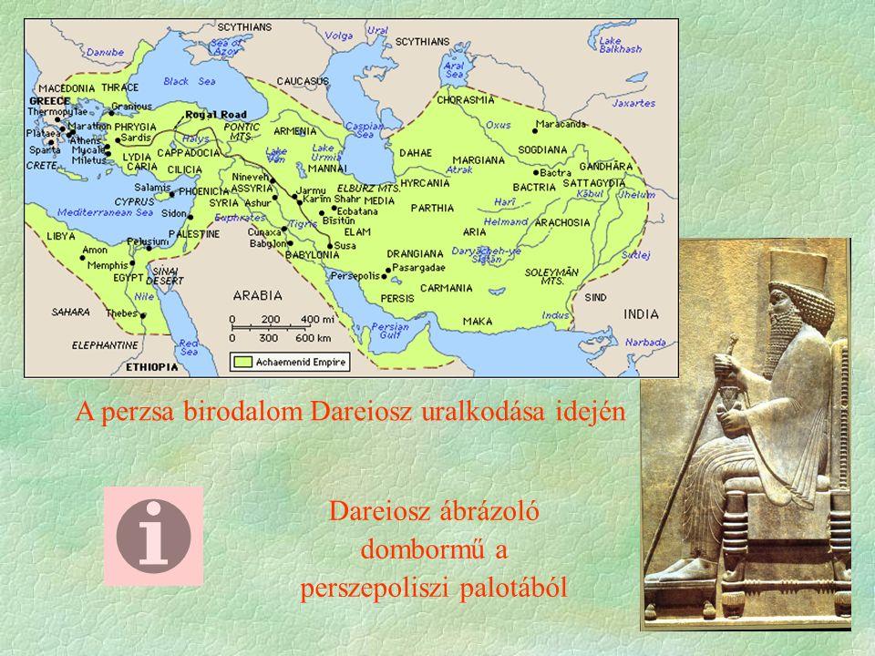 A perzsa birodalom Dareiosz uralkodása idején Dareiosz ábrázoló dombormű a perszepoliszi palotából