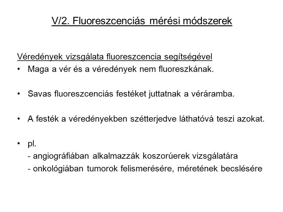 V/2. Fluoreszcenciás mérési módszerek Véredények vizsgálata fluoreszcencia segítségével Maga a vér és a véredények nem fluoreszkának. Savas fluoreszce