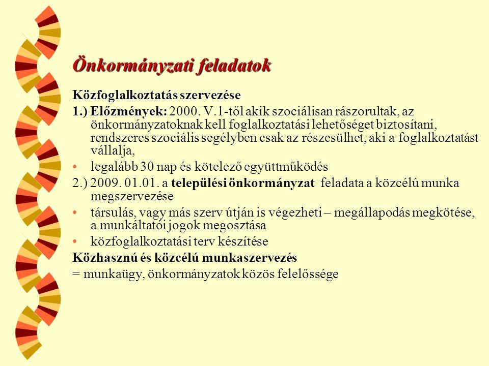 Önkormányzati feladatok Közfoglalkoztatás szervezése 1.) Előzmények: 1.) Előzmények: 2000.